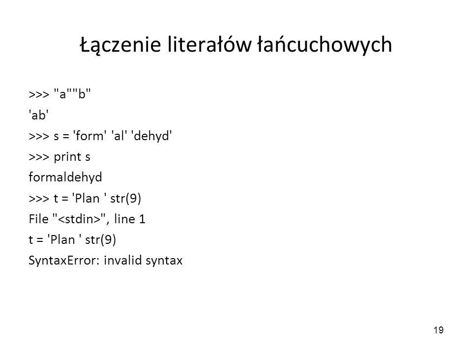 Łączenie literałów łańcuchowych