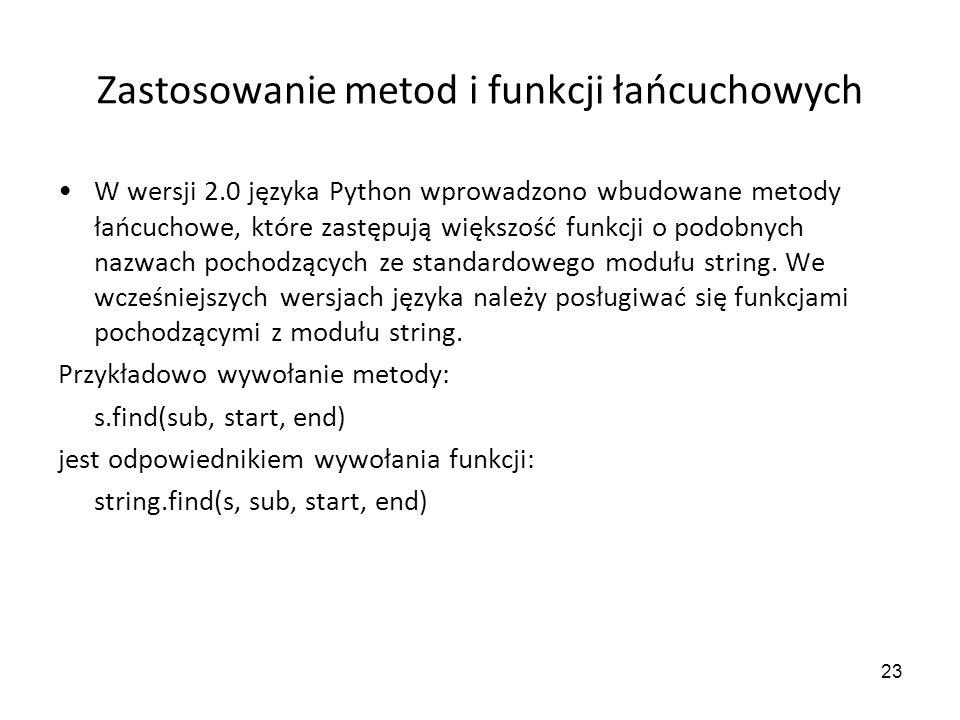 Zastosowanie metod i funkcji łańcuchowych