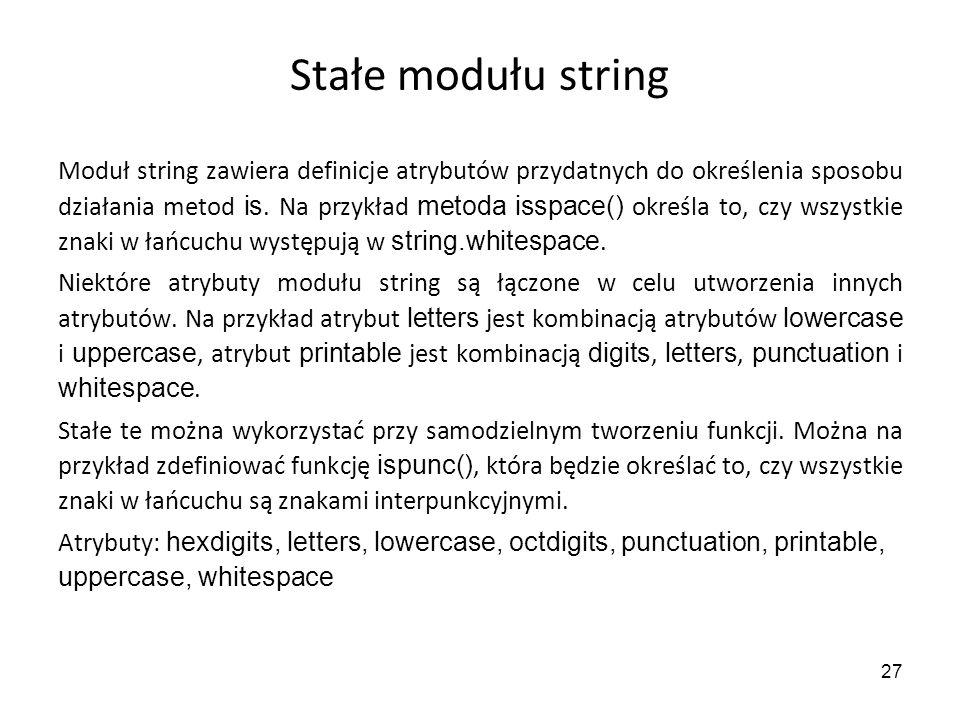 Stałe modułu string