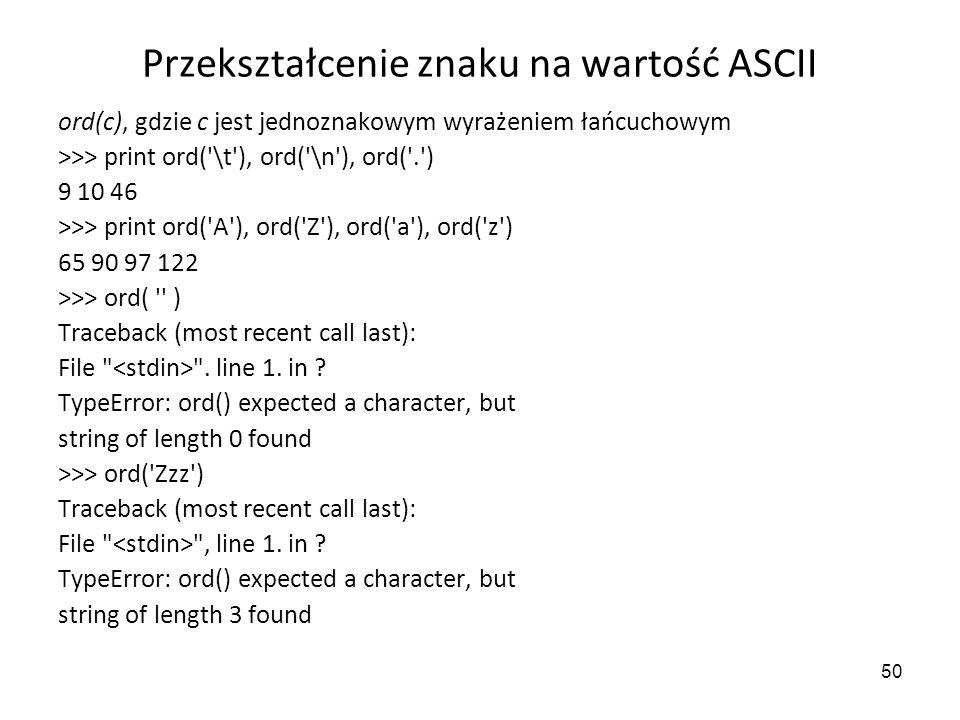 Przekształcenie znaku na wartość ASCII