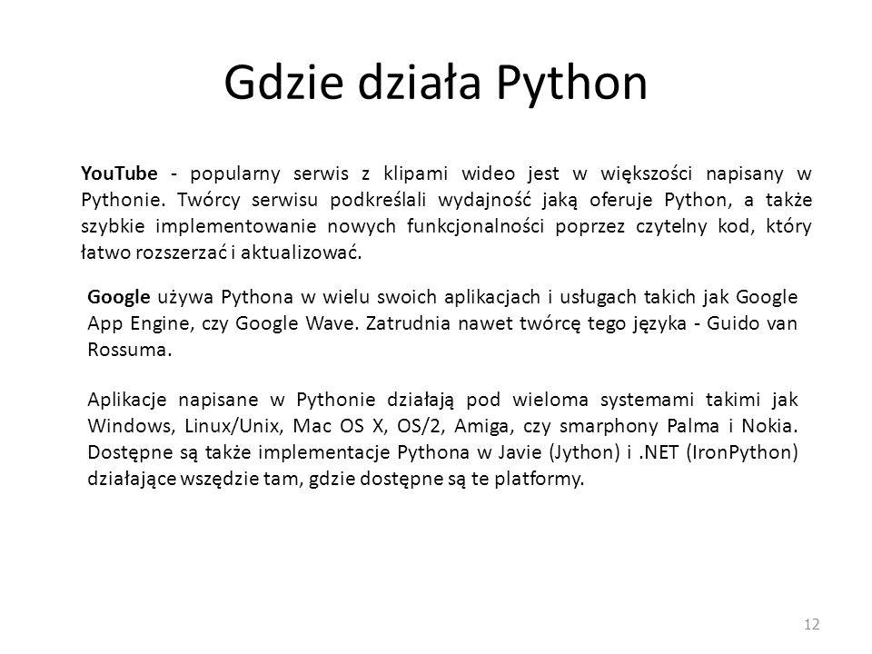 Gdzie działa Python