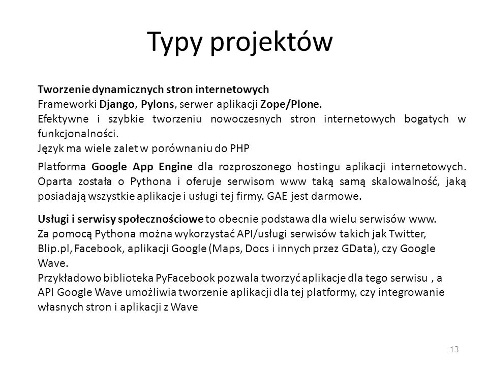 Typy projektów Tworzenie dynamicznych stron internetowych