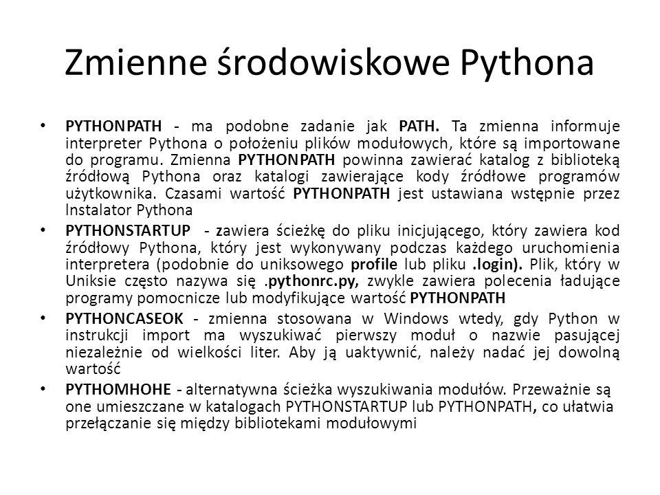 Zmienne środowiskowe Pythona