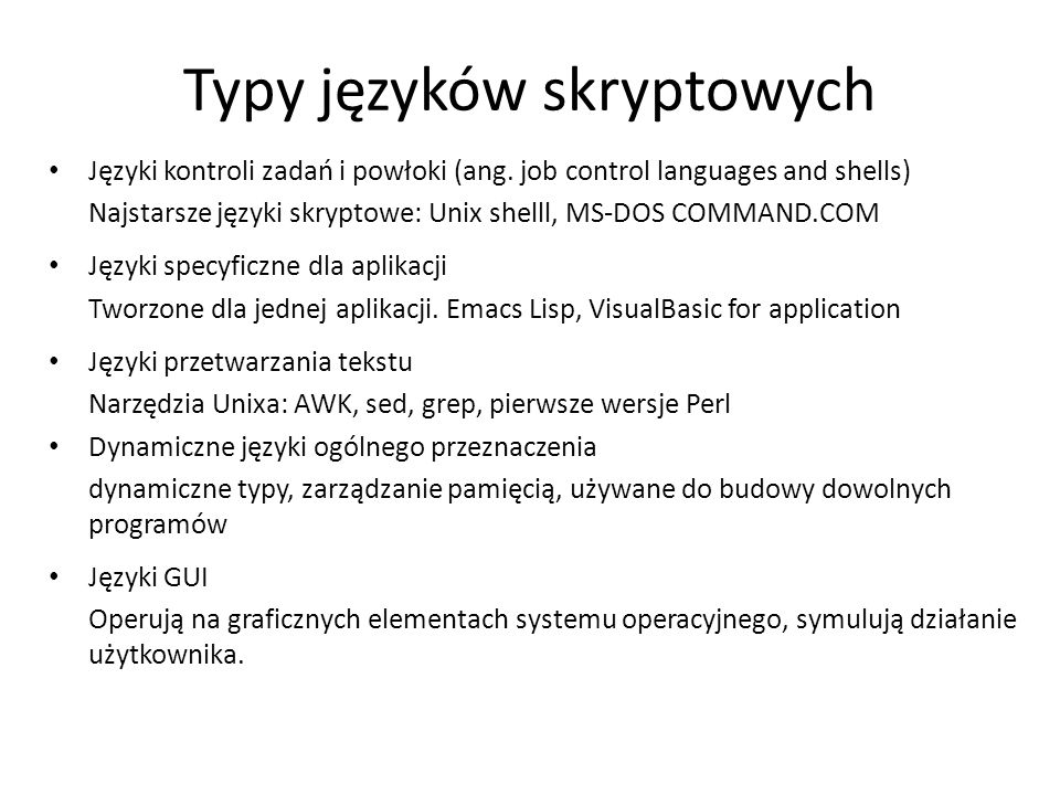 Typy języków skryptowych