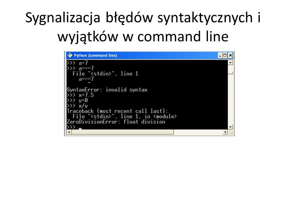 Sygnalizacja błędów syntaktycznych i wyjątków w command line