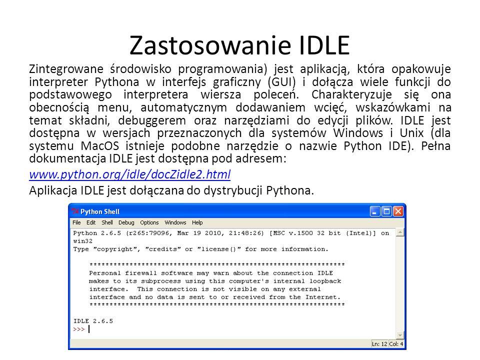 Zastosowanie IDLE