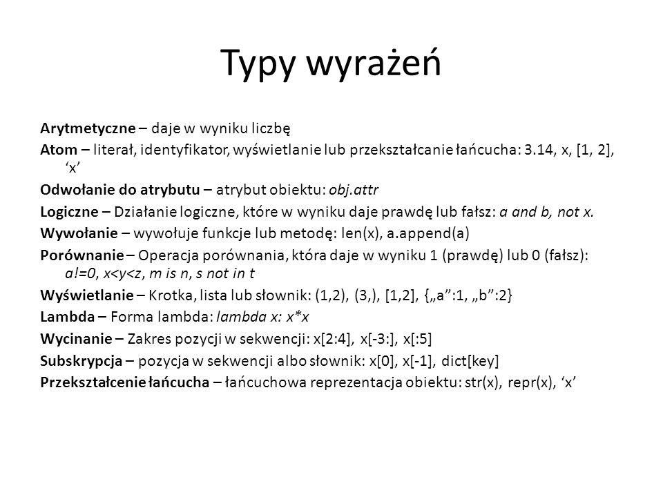 Typy wyrażeń Arytmetyczne – daje w wyniku liczbę