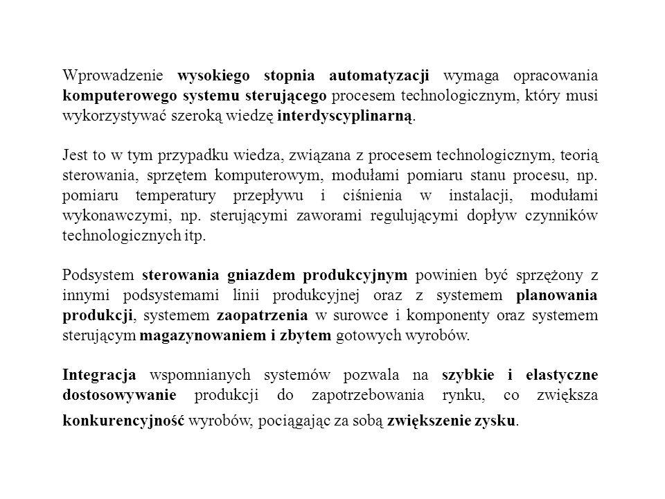 Wprowadzenie wysokiego stopnia automatyzacji wymaga opracowania komputerowego systemu sterującego procesem technologicznym, który musi wykorzystywać szeroką wiedzę interdyscyplinarną.