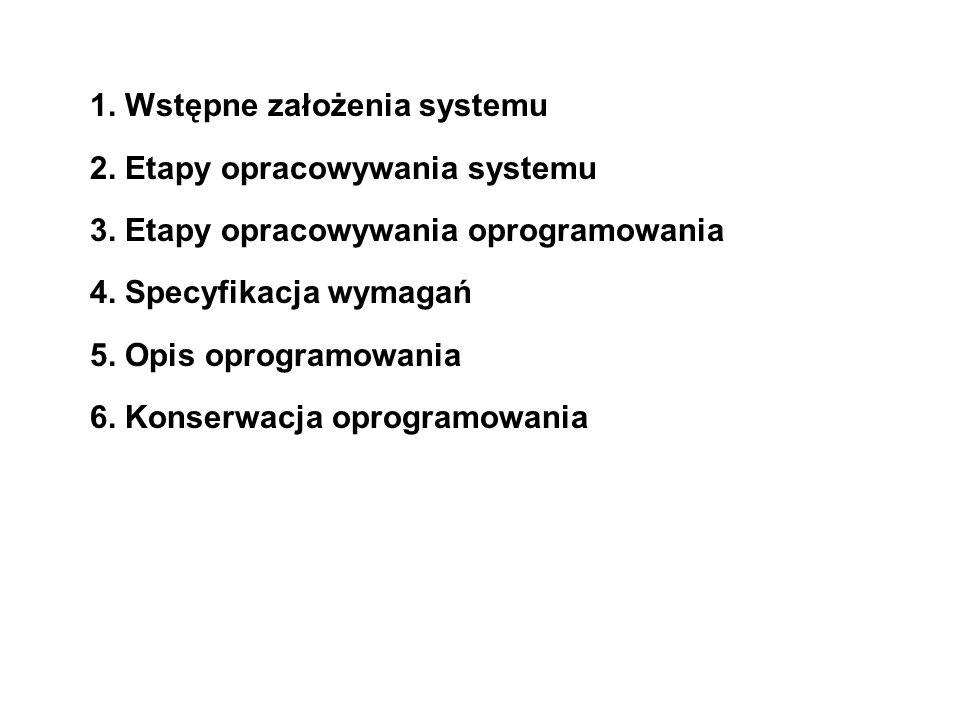 1. Wstępne założenia systemu