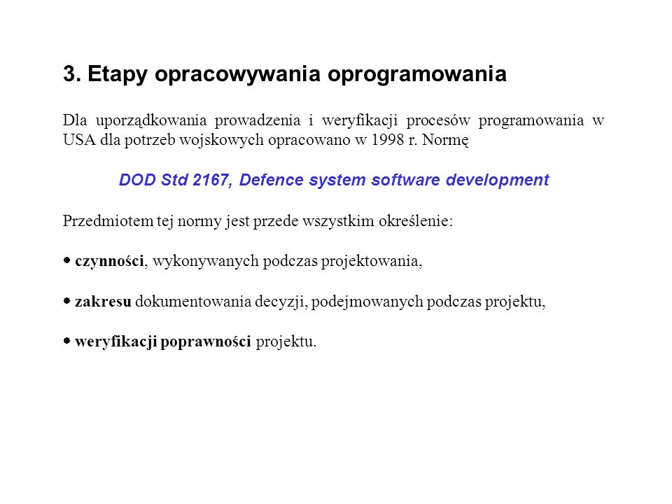 DOD Std 2167, Defence system software development