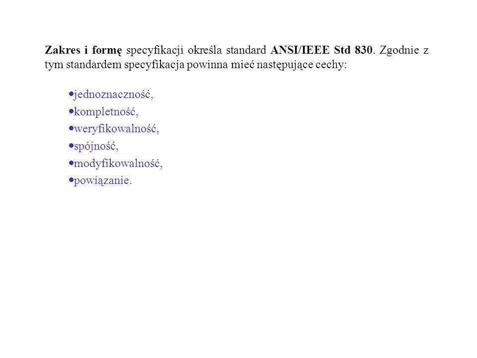 Zakres i formę specyfikacji określa standard ANSI/IEEE Std 830