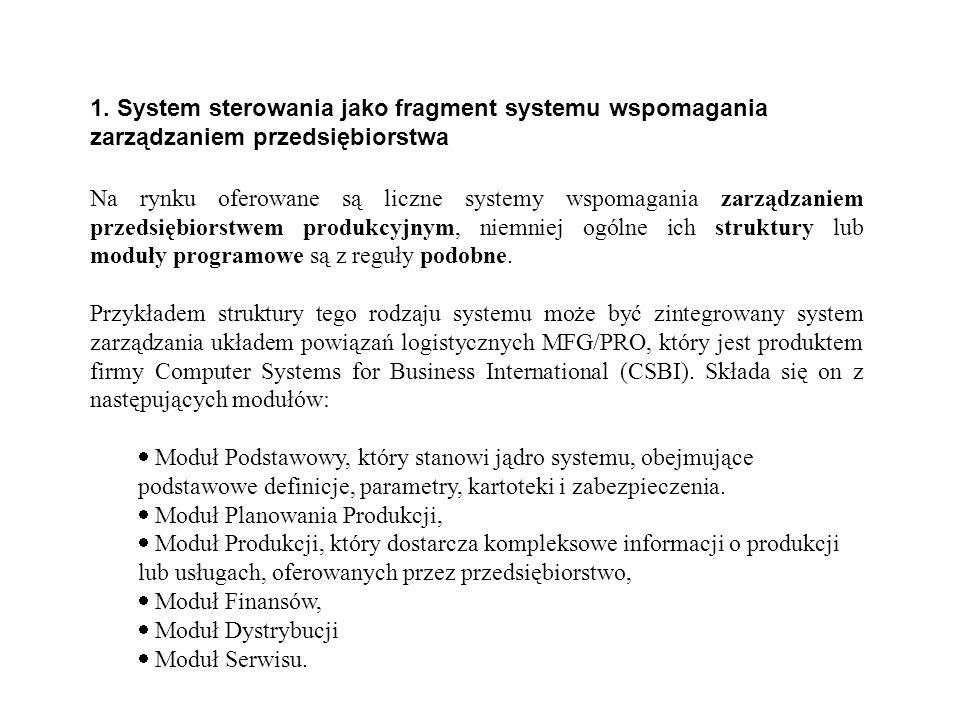 1. System sterowania jako fragment systemu wspomagania zarządzaniem przedsiębiorstwa