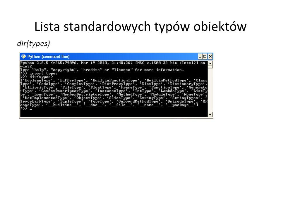 Lista standardowych typów obiektów
