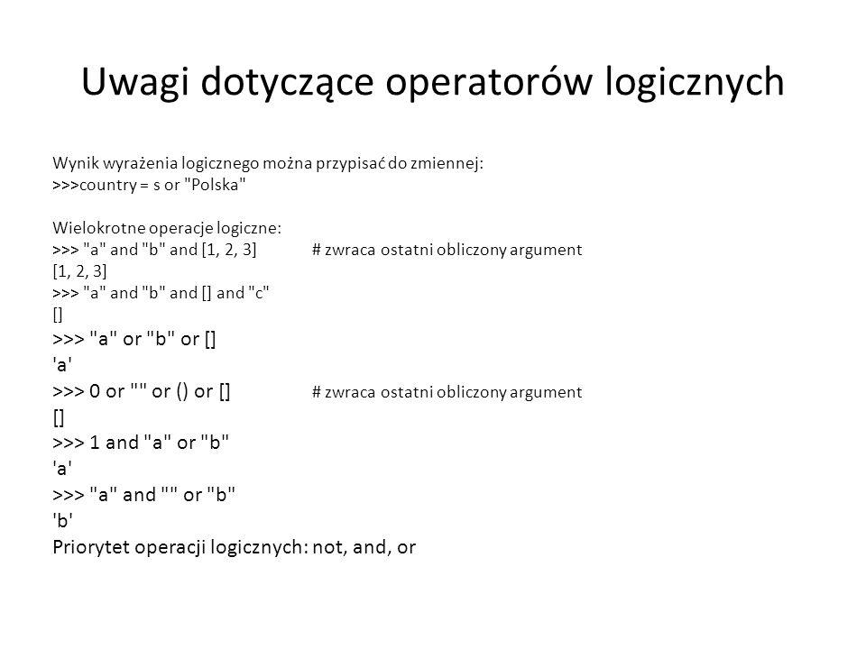 Uwagi dotyczące operatorów logicznych