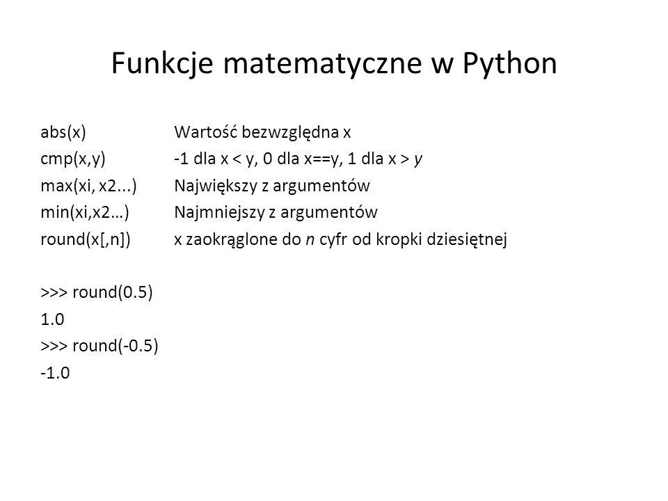 Funkcje matematyczne w Python