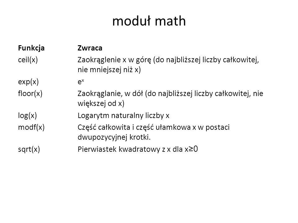 moduł math Funkcja Zwraca