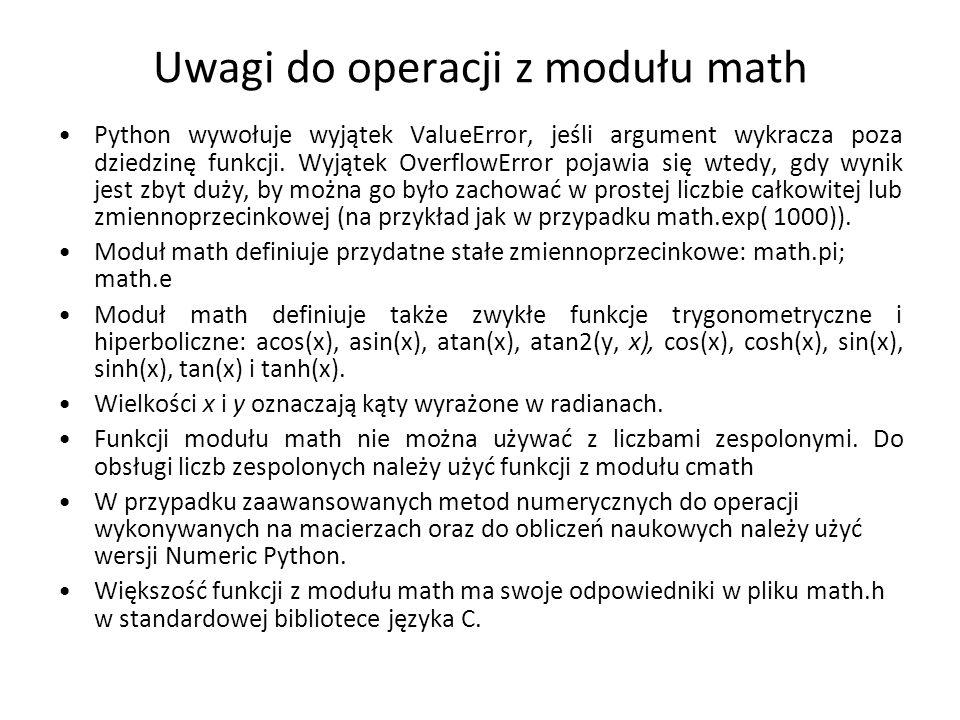 Uwagi do operacji z modułu math