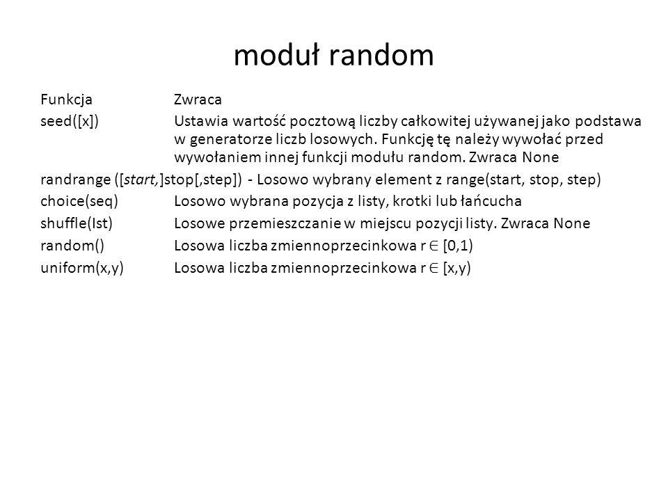 moduł random Funkcja Zwraca