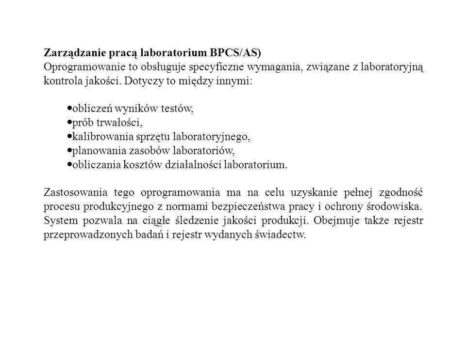 Zarządzanie pracą laboratorium BPCS/AS)