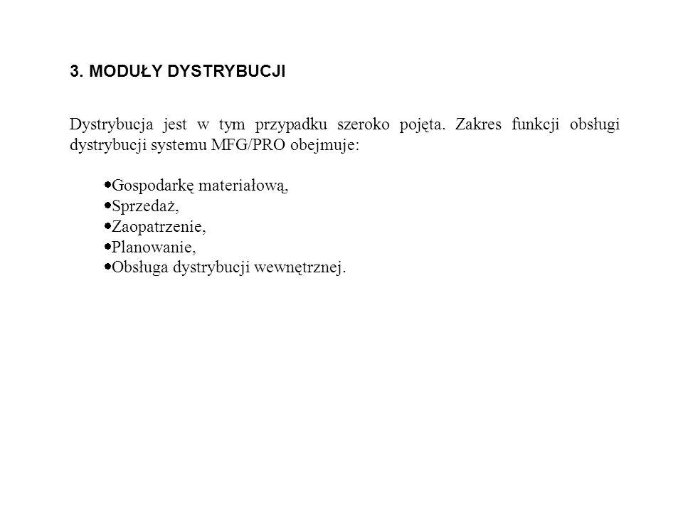 3. MODUŁY DYSTRYBUCJI Dystrybucja jest w tym przypadku szeroko pojęta. Zakres funkcji obsługi dystrybucji systemu MFG/PRO obejmuje:
