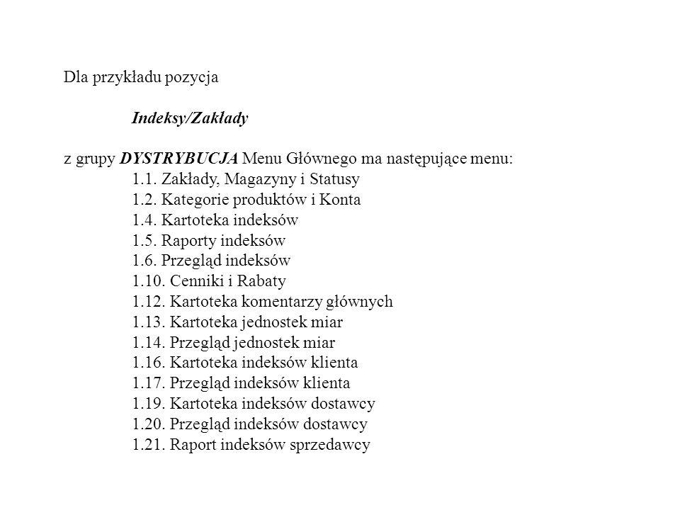 Dla przykładu pozycja Indeksy/Zakłady. z grupy DYSTRYBUCJA Menu Głównego ma następujące menu: 1.1. Zakłady, Magazyny i Statusy.