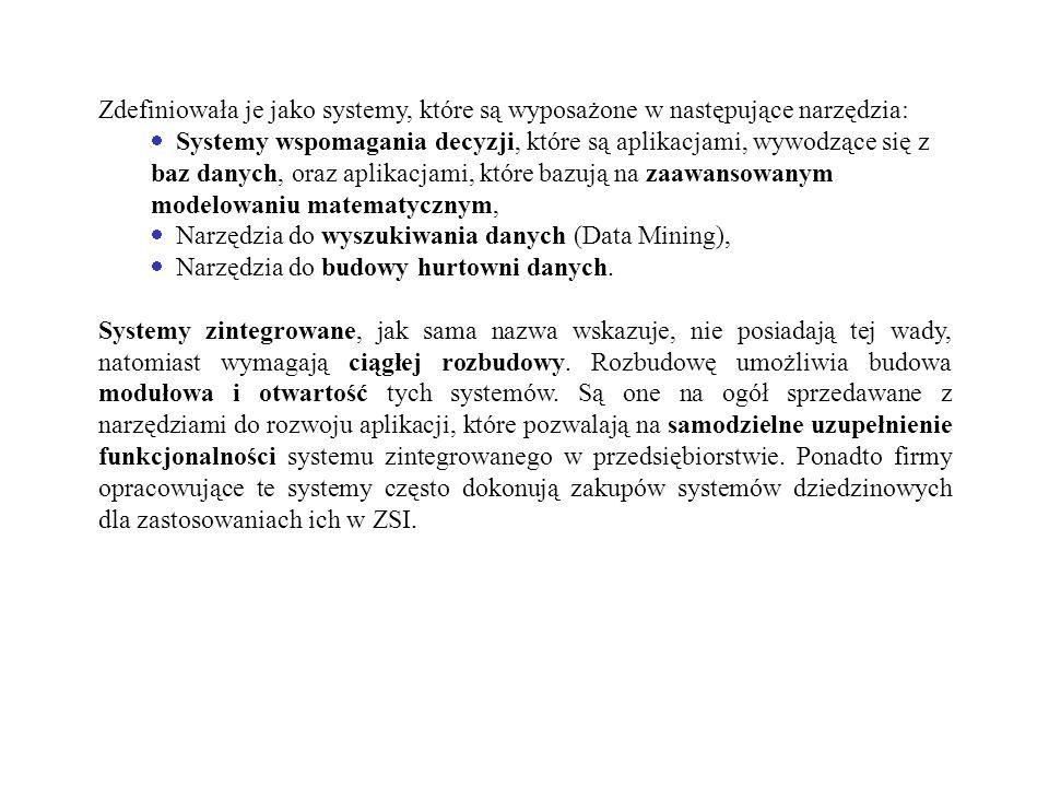 Zdefiniowała je jako systemy, które są wyposażone w następujące narzędzia: