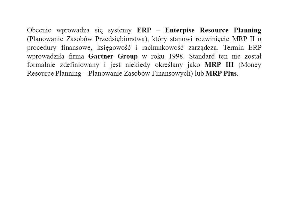 Obecnie wprowadza się systemy ERP – Enterpise Resource Planning (Planowanie Zasobów Przedsiębiorstwa), który stanowi rozwinięcie MRP II o procedury finansowe, księgowość i rachunkowość zarządczą.