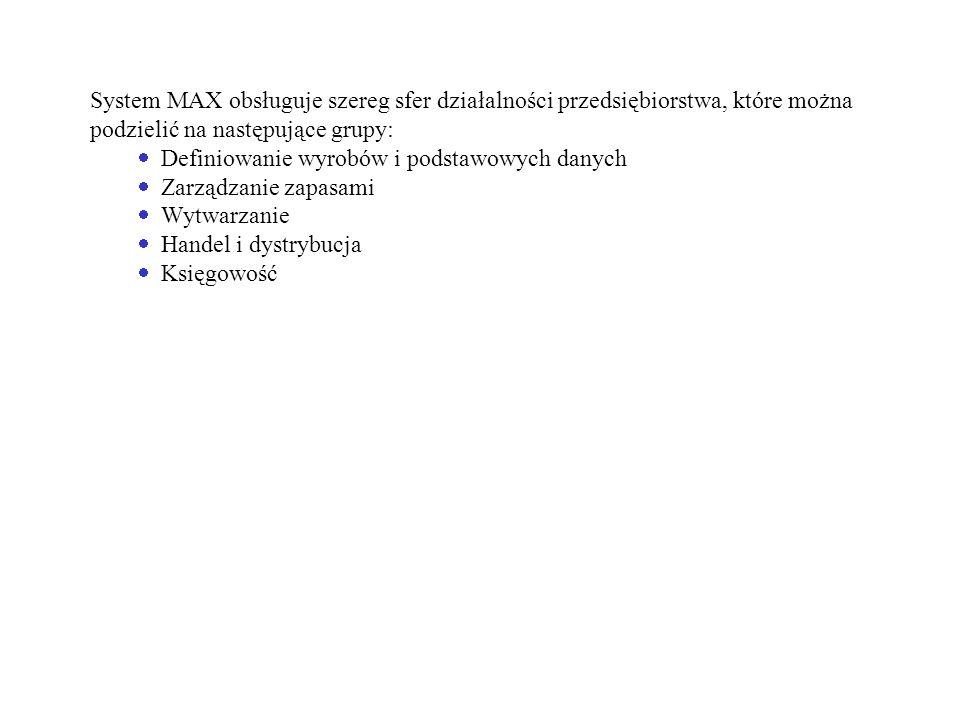 System MAX obsługuje szereg sfer działalności przedsiębiorstwa, które można podzielić na następujące grupy: