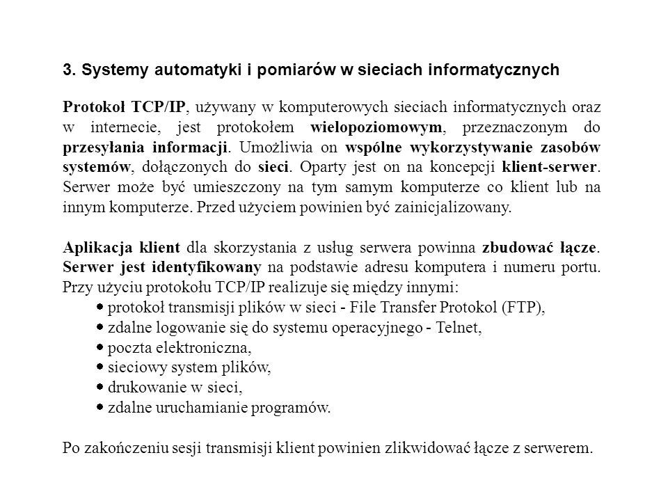3. Systemy automatyki i pomiarów w sieciach informatycznych