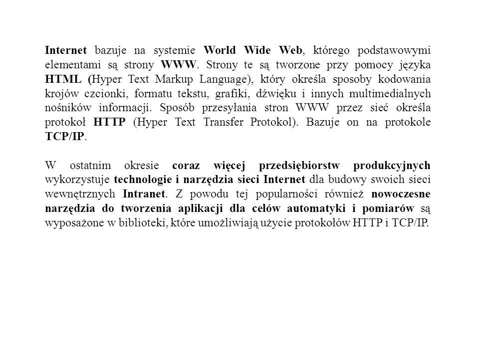 Internet bazuje na systemie World Wide Web, którego podstawowymi elementami są strony WWW. Strony te są tworzone przy pomocy języka HTML (Hyper Text Markup Language), który określa sposoby kodowania krojów czcionki, formatu tekstu, grafiki, dźwięku i innych multimedialnych nośników informacji. Sposób przesyłania stron WWW przez sieć określa protokoł HTTP (Hyper Text Transfer Protokol). Bazuje on na protokole TCP/IP.