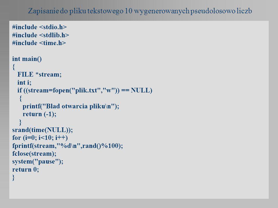 Zapisanie do pliku tekstowego 10 wygenerowanych pseudolosowo liczb