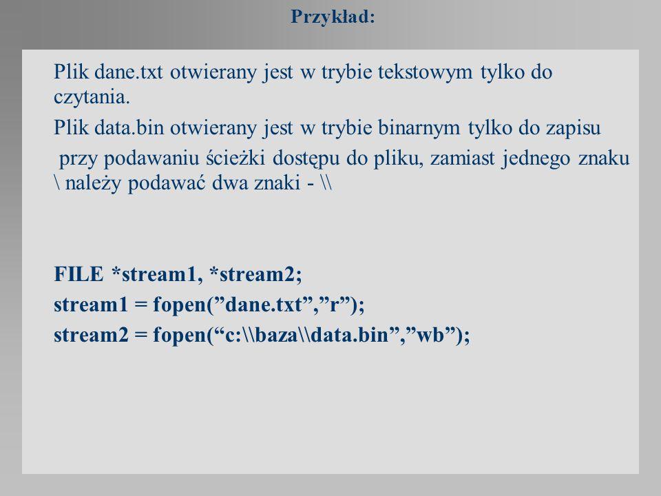 Plik dane.txt otwierany jest w trybie tekstowym tylko do czytania.