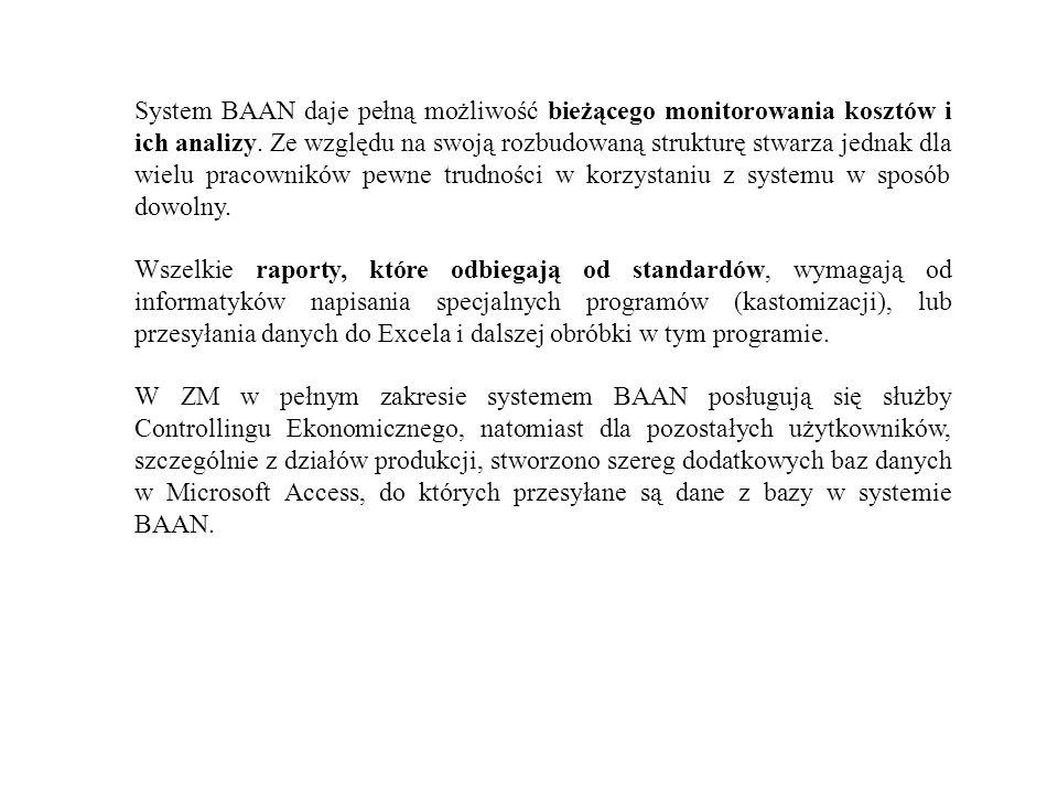 System BAAN daje pełną możliwość bieżącego monitorowania kosztów i ich analizy. Ze względu na swoją rozbudowaną strukturę stwarza jednak dla wielu pracowników pewne trudności w korzystaniu z systemu w sposób dowolny.