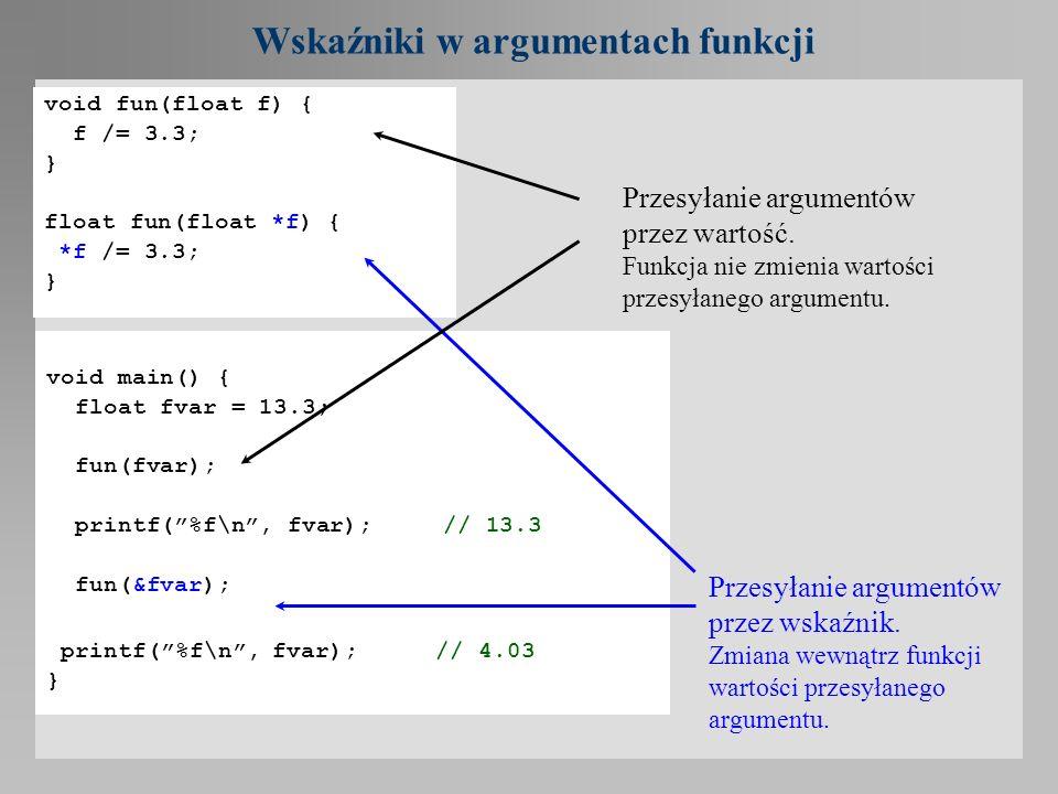 Wskaźniki w argumentach funkcji