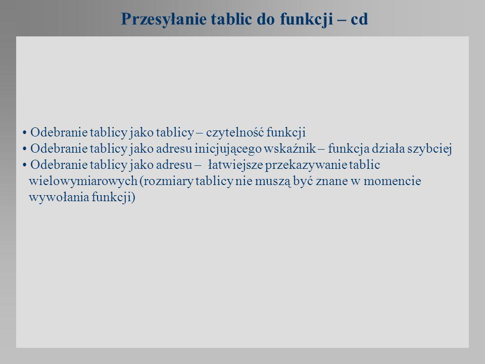 Przesyłanie tablic do funkcji – cd
