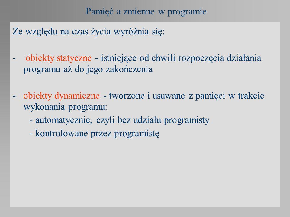 Pamięć a zmienne w programie