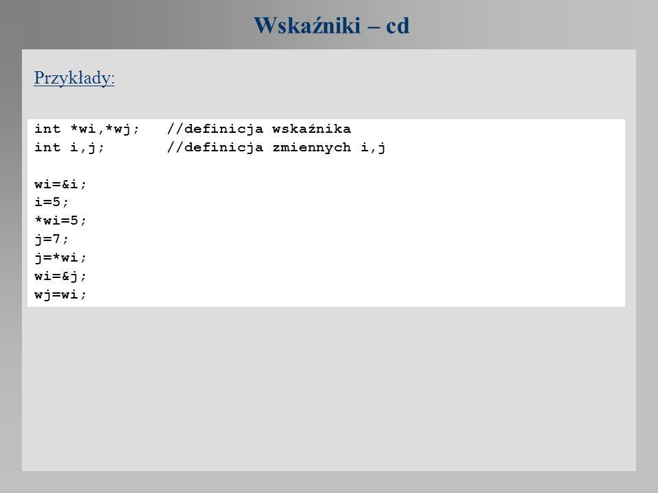 Wskaźniki – cd Przykłady: int *wi,*wj; //definicja wskaźnika