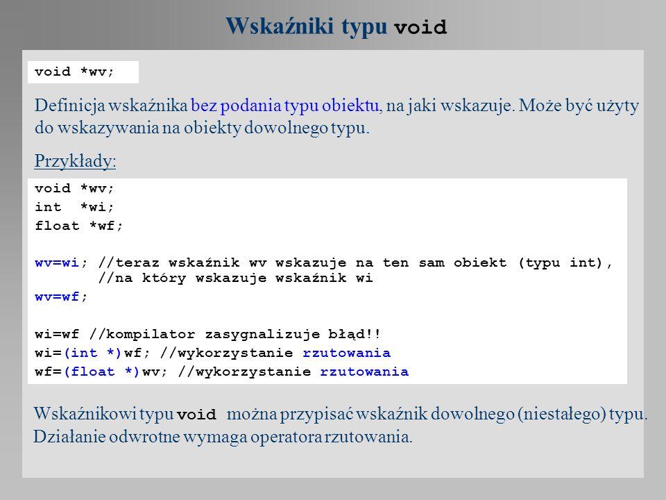 Wskaźniki typu void void *wv;