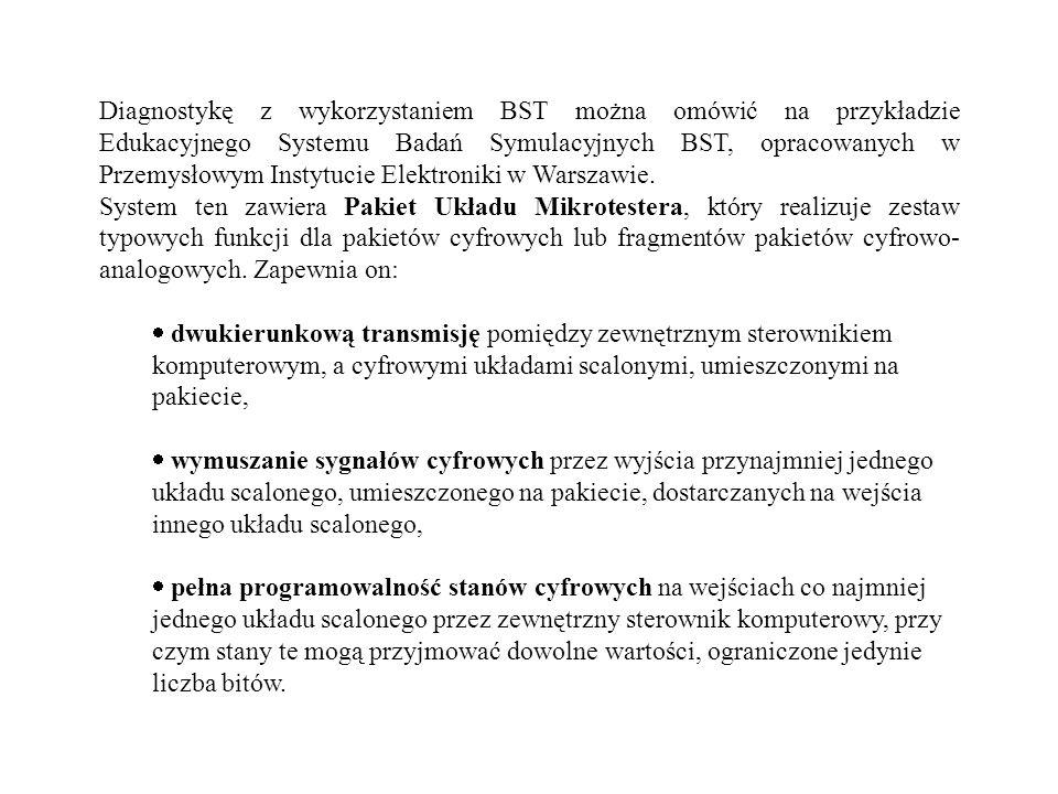 Diagnostykę z wykorzystaniem BST można omówić na przykładzie Edukacyjnego Systemu Badań Symulacyjnych BST, opracowanych w Przemysłowym Instytucie Elektroniki w Warszawie.