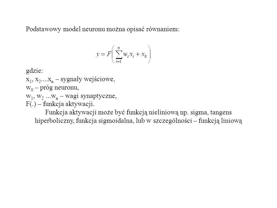 Podstawowy model neuronu można opisać równaniem: