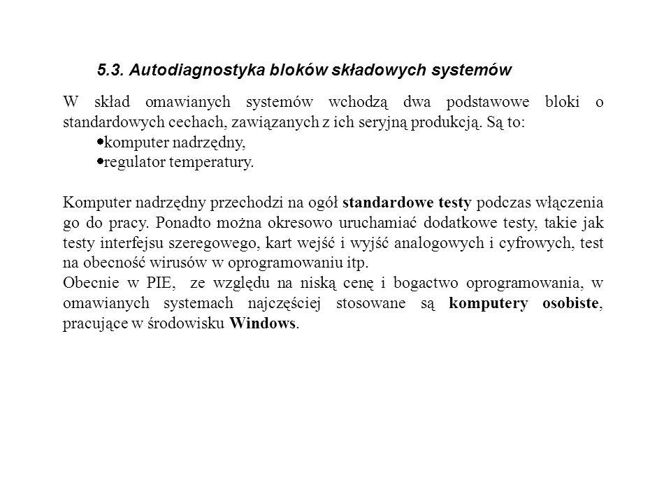 5.3. Autodiagnostyka bloków składowych systemów