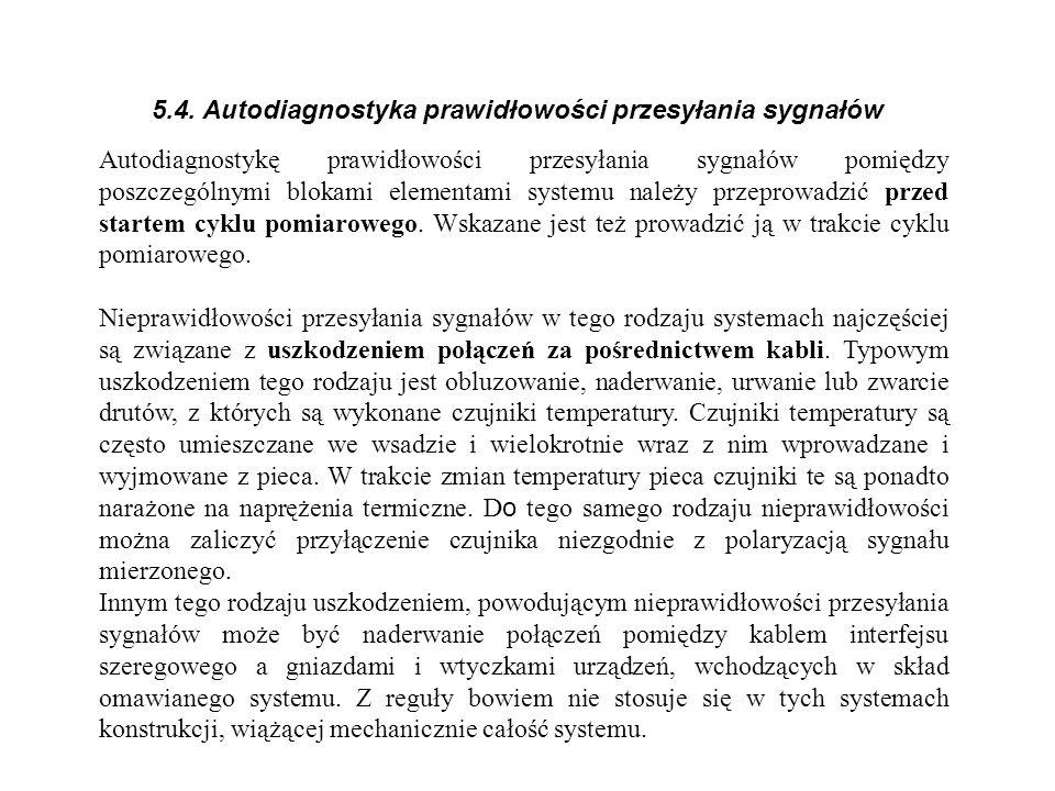 5.4. Autodiagnostyka prawidłowości przesyłania sygnałów