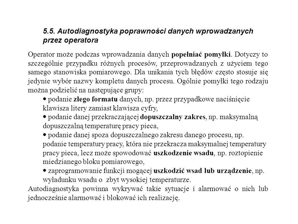 5.5. Autodiagnostyka poprawności danych wprowadzanych przez operatora