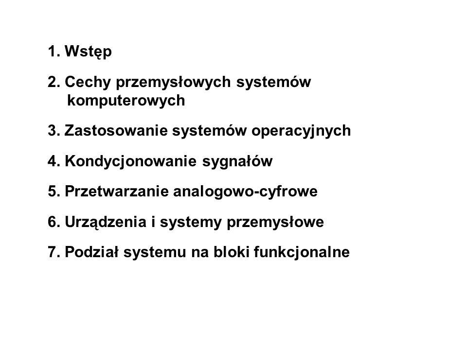 1. Wstęp 2. Cechy przemysłowych systemów komputerowych. 3. Zastosowanie systemów operacyjnych. 4. Kondycjonowanie sygnałów.