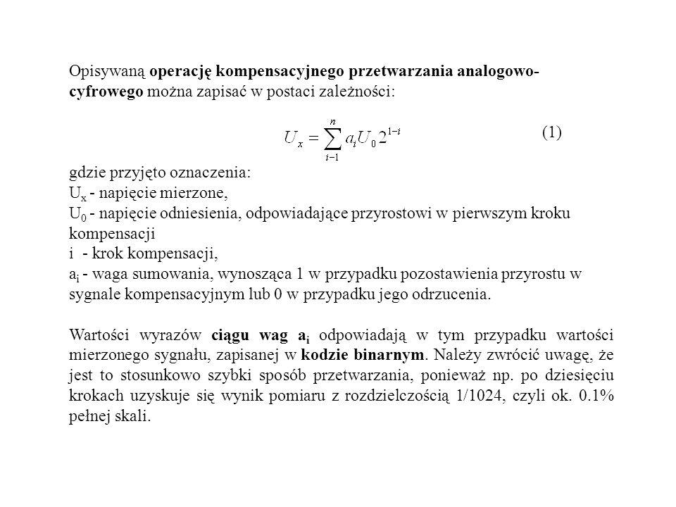 Opisywaną operację kompensacyjnego przetwarzania analogowo-cyfrowego można zapisać w postaci zależności: