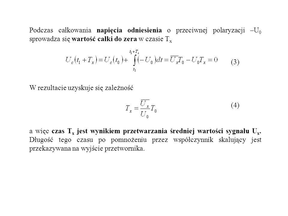 Podczas całkowania napięcia odniesienia o przeciwnej polaryzacji –U0 sprowadza się wartość całki do zera w czasie Tx