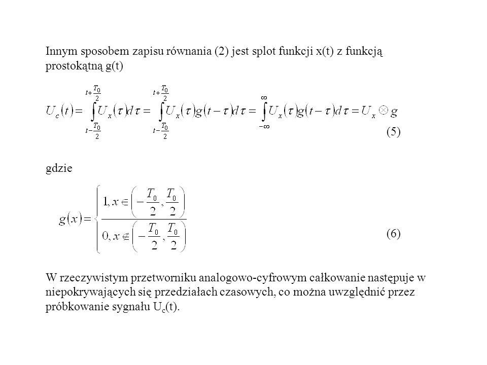 Innym sposobem zapisu równania (2) jest splot funkcji x(t) z funkcją prostokątną g(t)