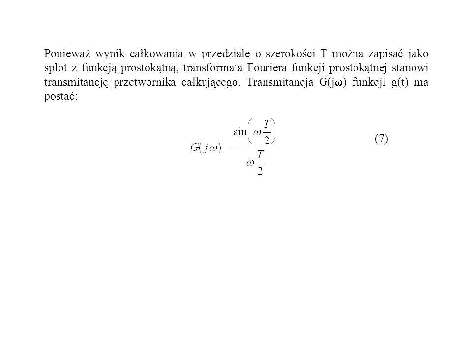 Ponieważ wynik całkowania w przedziale o szerokości T można zapisać jako splot z funkcją prostokątną, transformata Fouriera funkcji prostokątnej stanowi transmitancję przetwornika całkującego. Transmitancja G(j) funkcji g(t) ma postać:
