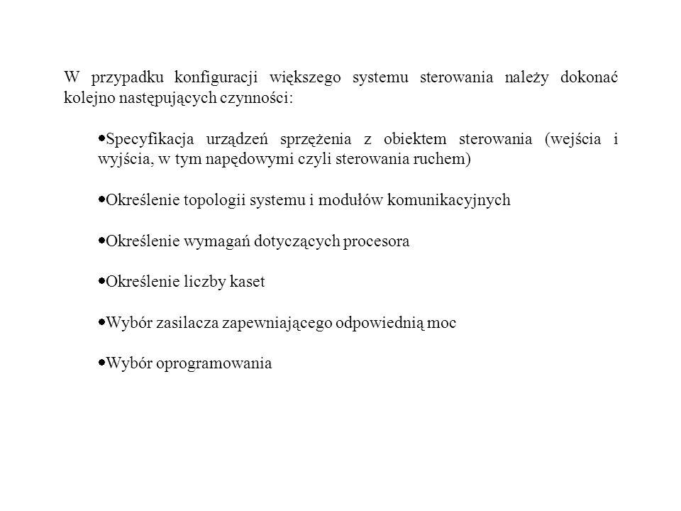 W przypadku konfiguracji większego systemu sterowania należy dokonać kolejno następujących czynności: