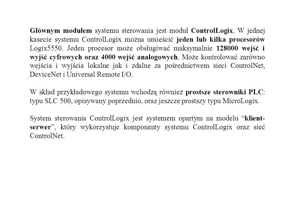 Głównym modułem systemu sterowania jest moduł ControlLogix